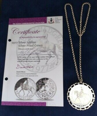 £13.51 • Buy 1977 Royal Mint Queens Silver Jubilee, Solid Silver Proof Crown Coin & 925 Chain