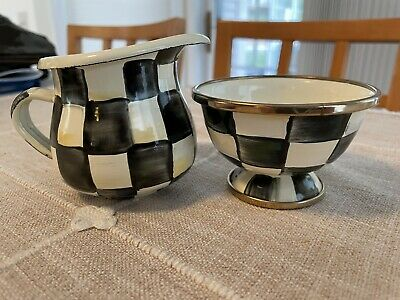 $49 • Buy Mackenzie Childs COURTLY CHECK Sugar Bowl And Creamer Set, Black And White