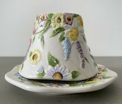 £15 • Buy Vintage Ceramic Yankee Candle Style Shade And Saucer 10cm Tall Summer Design