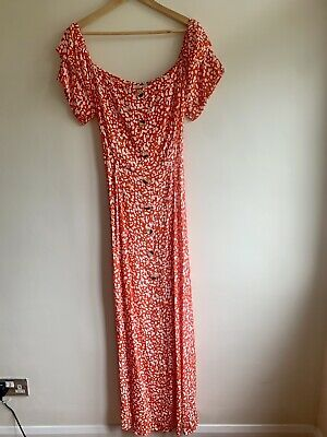 £22 • Buy BNWT River Island Coral Maxi Drew With Faux Button Through Size 14 RRP £38