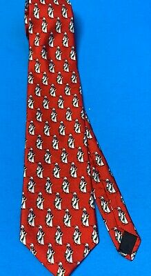 $14.99 • Buy USA Made BROOKS BROTHERS Makers Holiday Tie - Penguin W/Scarf Gift  RED SILK