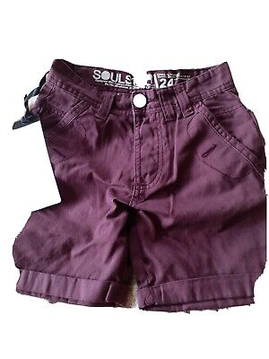 £2 • Buy Soul Star Shorts 24 Inch Waist. Burgundy...new With Label Never Worn..