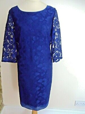 £29.99 • Buy Ladies/women-kaliko-blue Lace-lined-occasional Dress-10  Sleeves-size 20-bnwt