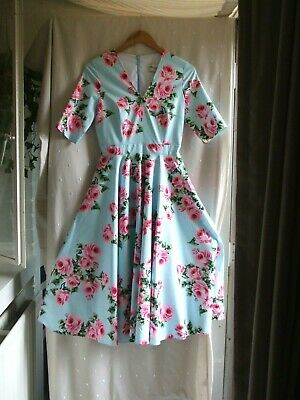 £9.99 • Buy NEW.'The Pretty Dress Co'.Full Circle Rose 50's Look Dress.UK Size 8.Was £100