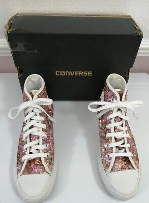 £9.99 • Buy Converse All Star Sequin Trainers Pink Laces Size 4 UK