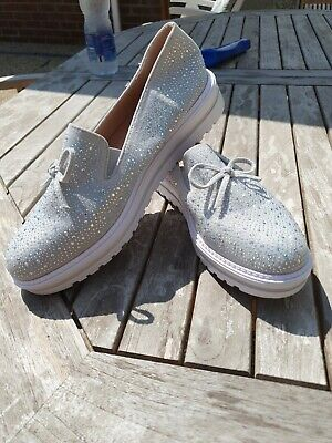 $ CDN30.29 • Buy WOMENS Grey DIAMANTE SLIP ON FLATS LOAFERS TRAINERS PLIMSOLLS PUMPS SHOES SIZE 7