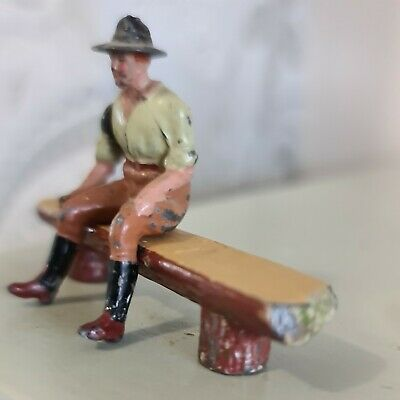 £14.99 • Buy Vintage Britains Lead Tractor Driver Sitting On Log Bench. Combined Postage
