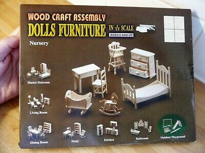 £6.99 • Buy Wood Craft Assembly Dolls House Furniture Kit Nursery Cot Chair Rocking Horse