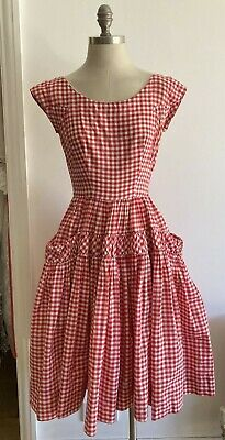 £49.99 • Buy Rare 1950s Red Gingham Dress By Victor Josselyn, + Underskirt, 17  Pit To Pit