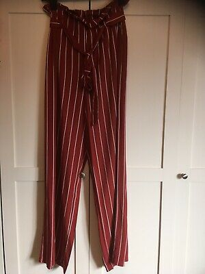 £6 • Buy Avon Paperbag Elasticated Waist Red & White Striped Wide Leg Trousers Size 8/10