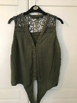 £1.50 • Buy Ladies Top Size Small Superdry Khaki Green Tie Front