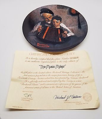 $ CDN1.25 • Buy Norman Rockwell Collector Plate THE MUSIC MAKER Accordion 1981 W/COA Clean