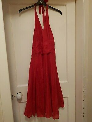 £3.99 • Buy Monsoon Red Dress Cotton Summer Party Cocktail 50s Marilyn Circle Halter 12