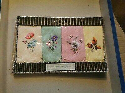 £10 • Buy NEW VINTAGE  Box 4 Swiss Embroidered Floral  IRISH LINEN  Napkins