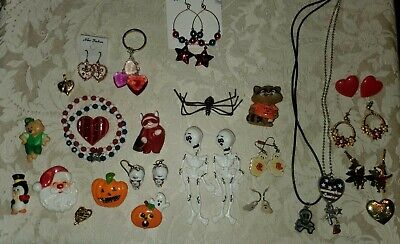 $ CDN6.92 • Buy Vintage Mixed Lot 25+ Holiday Costume Jewelry Christmas Halloween Valentine's