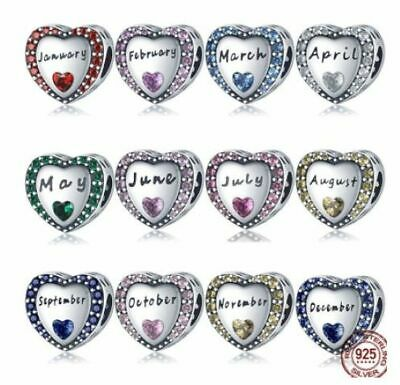 AU26.95 • Buy BIRTH MONTH CONSTELLATION (Heart) S925 Sterling Silver Bead By Charm Heaven