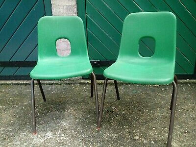 £14 • Buy Hille Kids Green Plastic Chairs X 2 Vintage British Classic Design Robin Day
