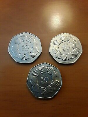 £0.99 • Buy 3 X 50p COINS... 1973 EC HANDS EU EEC Europe Large Old Fifty Pence Uncirculated