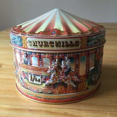 £6 • Buy Churchill's Carousel Fair Merry Go Round Embossed Sweet Tin Collectable Empty