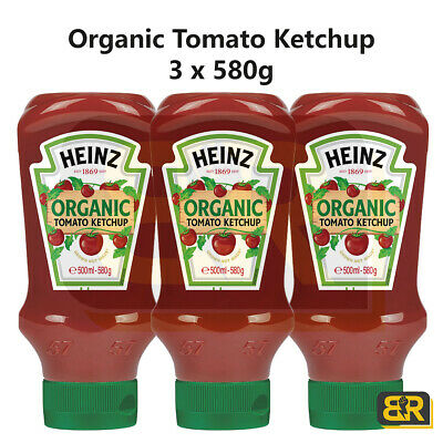 £11.46 • Buy Heinz Organic Tomato Ketchup Sauce Pack Of 3 X 580g Red Squeezy Bottles
