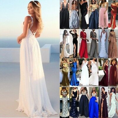 AU42.59 • Buy Women Bridesmaid Wedding Ball Gown Maxi Dress Formal Evening Party Cocktail Prom