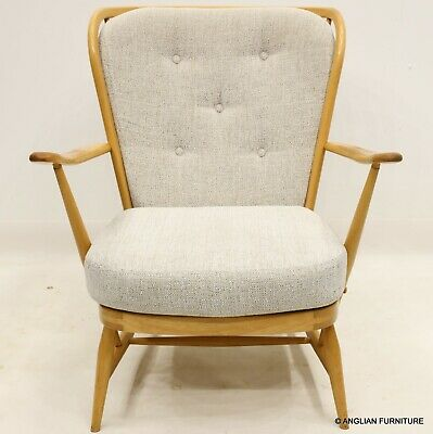 £387 • Buy Ercol Windsor Easy Chair Button Upholstery Light/Blonde FREE UK Delivery