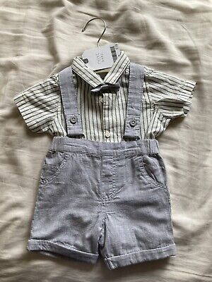 £12 • Buy Next Baby Boy Smart Shorts Dungarees With Shirt And Bowtie BNWT Age 1 Month