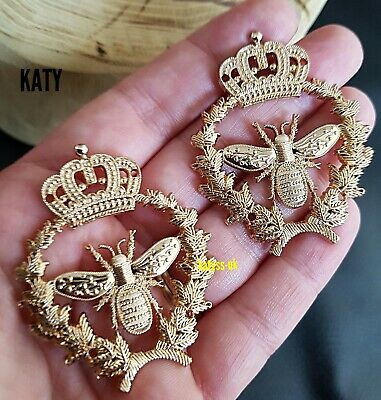 £4.60 • Buy 2 Pcs Sew On Gold Bumble Bee Charm Badge Craft Decoration Vintage Gift
