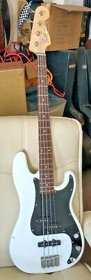 £129 • Buy SQUIER By Fender PJ Precision BASS White P-Bass Affinity Electric Bass Guitar