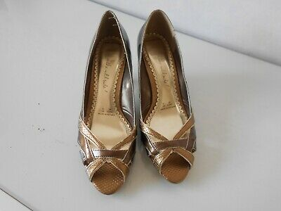 £2.49 • Buy Ladies Bronze Gold Peep Toe   Shoes Size 5. * Red Herring  * VGC * Reduced