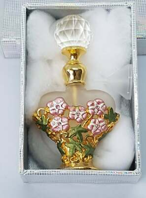 £3.99 • Buy Beautiful Perfume Bottle With Crystal Screw-on Top & Funnel For Filling. Boxed