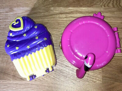 £8.99 • Buy Polly Pocket World Cupcake & Flamingo With 4 Figures @ Accessories Vgc Cond