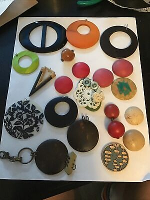 $ CDN1.25 • Buy Lot Of 20 Vintage-Now Wood Shell + Pcs . Art Craft Jewelry Making Projects Parts