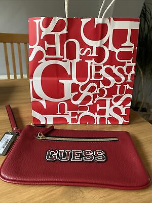 $ CDN29.41 • Buy Guess Purse Wallet Wristlet New With Gift Bag Keyring Red Plaid