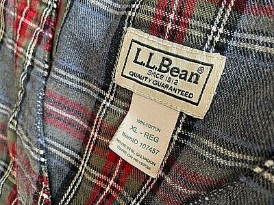 $20 • Buy NWOT   L.L. Bean GREY RED OLIVE COTTON Plaid Flannel Night Gown Mens XL