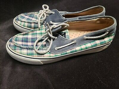$5.99 • Buy Women's Sperry Top Sider Sequin Navy Blue & Plaid Boat Shoes Size 10 M