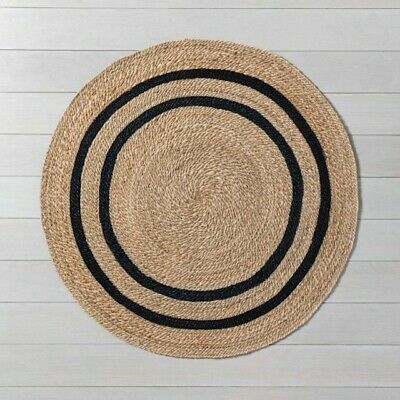 $149.99 • Buy HEARTH & HAND MAGNOLIA 5' Round JUTE STRIPE RUG Natural - SOLD OUT! CHARCOAL