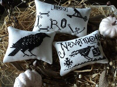 £11.54 • Buy 3 Finished Cross Stitch Lizzie Kate Nevermore Black Crows Halloween Ornaments