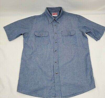 $22.50 • Buy Wrangler Short Sleeve Shirt Mens M Blue Chambray Button Down Front Cotton 45  In