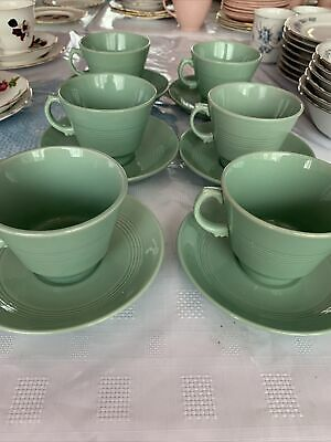 £10 • Buy Wood's Ware Beryl Green 6 Teacups And Saucers