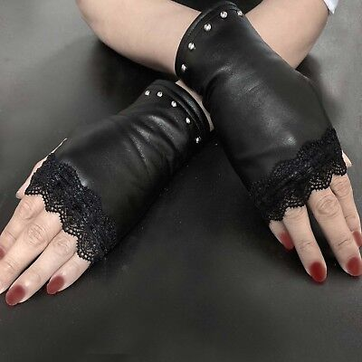 AU18.64 • Buy Studded Womens Ladies Fingerless Party Wedding Leather Gloves Punk Rock
