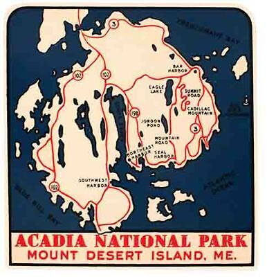 $3.99 • Buy Acadia National Park  Maine  ME  Vintage 1950's Style Travel Decal Sticker Label