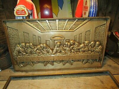 £50 • Buy Vintage Brass Art Plaque Solid Brass The Last Supper Christianity Very Heavy