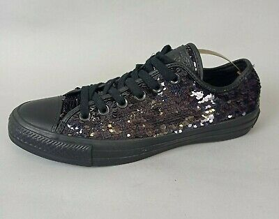 £27.92 • Buy Converse All Star Ladies Black Sequin Sparkle Trainers UK 6 Low Top