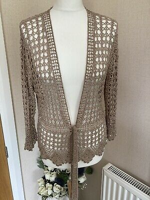 £9.99 • Buy Taupe Crochet Cardigan/shrug With Gold Thread And Sequins Size 14/16 Tie Front