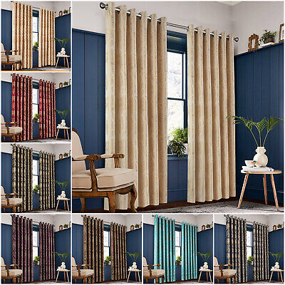 £21.99 • Buy Jacquard Curtains Eyelet Ring Top Damask Curtain With Tie Backs For Livingroom