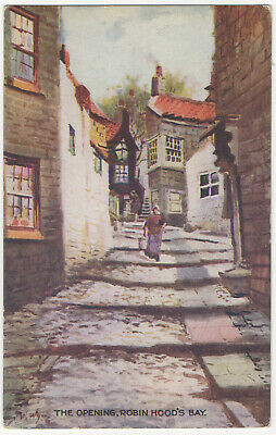 £2.45 • Buy Robin Hoods Bay The Opening Whitby Yorkshire Artist Postcard JT Ross Series 4581