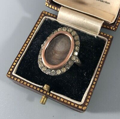 £500 • Buy 19th Century Silver & Yellow Gold Paste Mourning Ring Size R 2.2cm CAEZX
