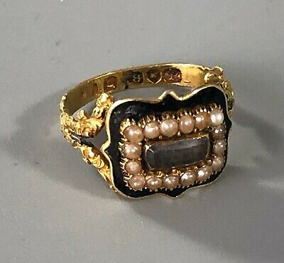 £400 • Buy George III 18ct Yellow Gold & Enamelled Mourning Ring 1830 Size K.5 BZX