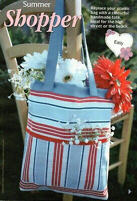 £1.70 • Buy ~ Pull-Out Sewing Instructions For Colourful Striped Tote/Shopping Bag ~